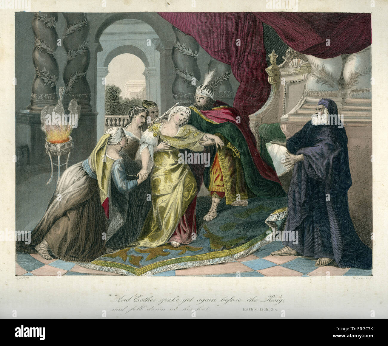 Esther reveals to the king  Haman's plan to massacre all the Jews in Persia. Caption reads: ' And Esther - Stock Image