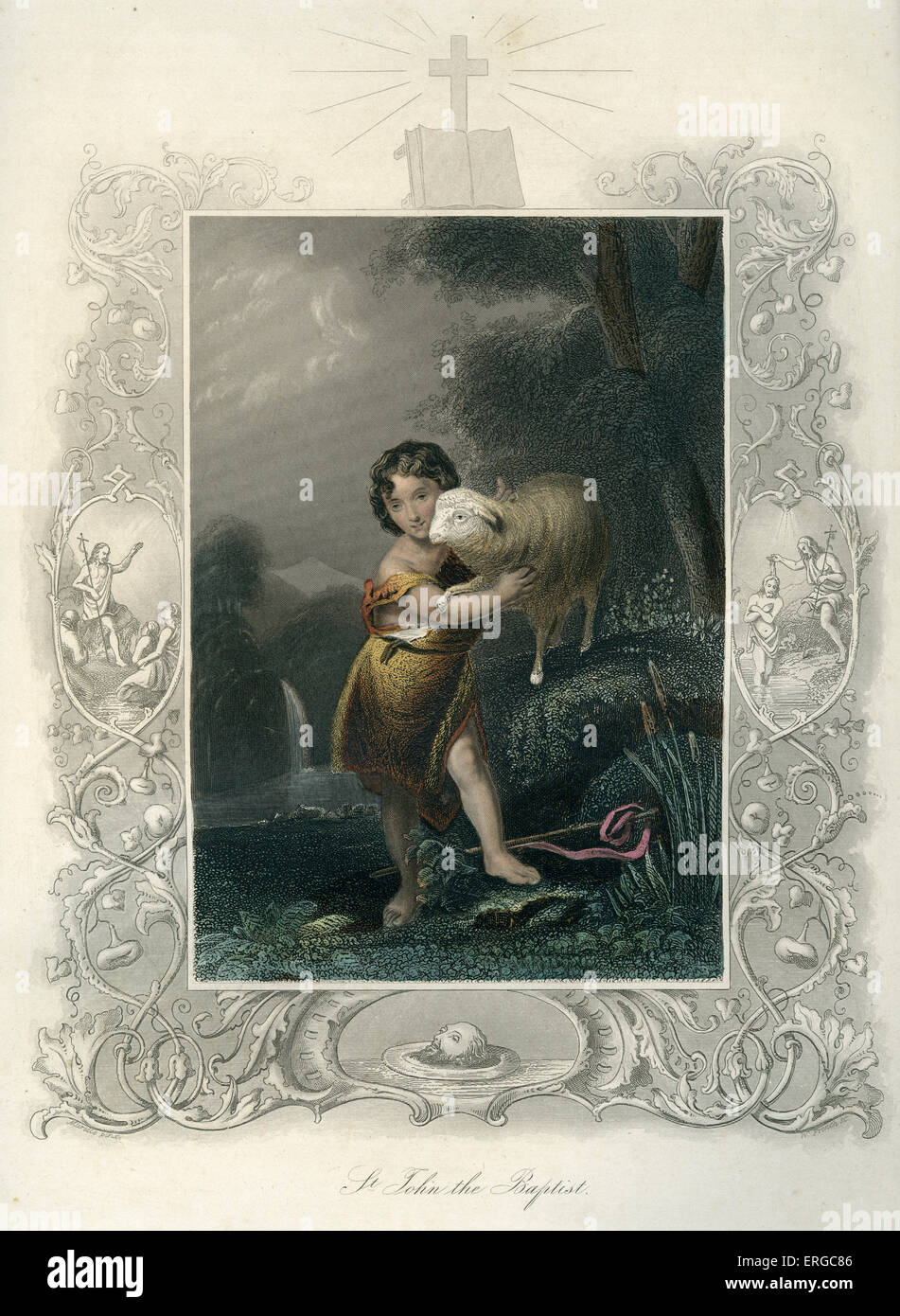 Saint John the Baptist with a lamb. - Stock Image