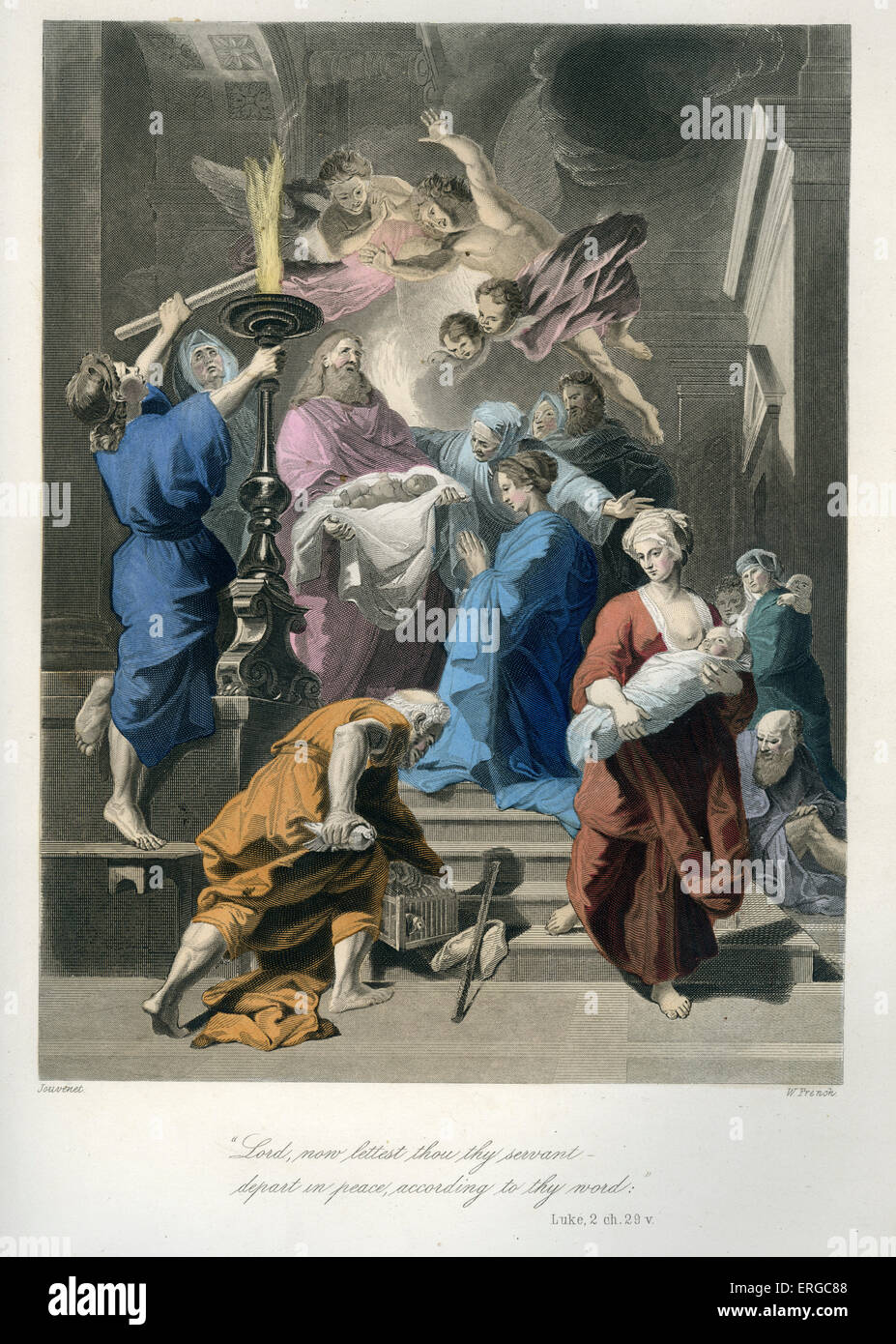 Presentation of Jesus at the Temple, the encounter with Simeon the righteous. Caption reads: ' Lord, now lettest - Stock Image