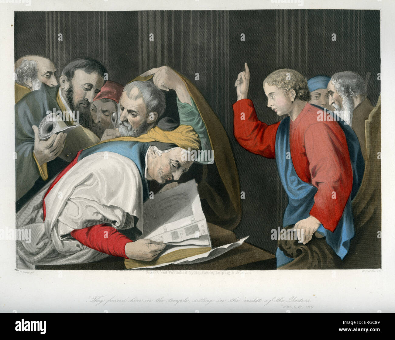 Christ among the Doctors / Finding in the temple / Disputation. Caption reads: ' They found him in the temple, - Stock Image