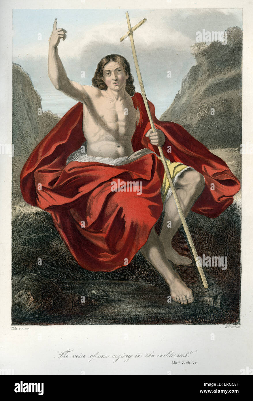 John the Baptist preaching in the wilderness of Judaea. Caption reads: ' The voice of one crying in the wilderness.' - Stock Image