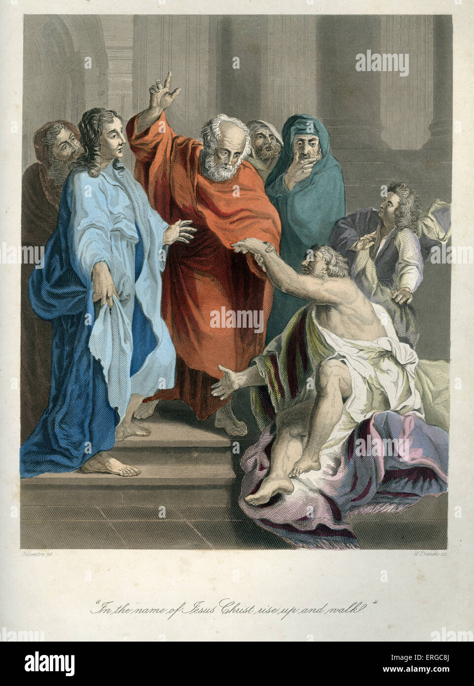 Acts of Peter and John, the healing of a crippled man outside the temple. Caption reads: ' In the name of Jesus - Stock Image