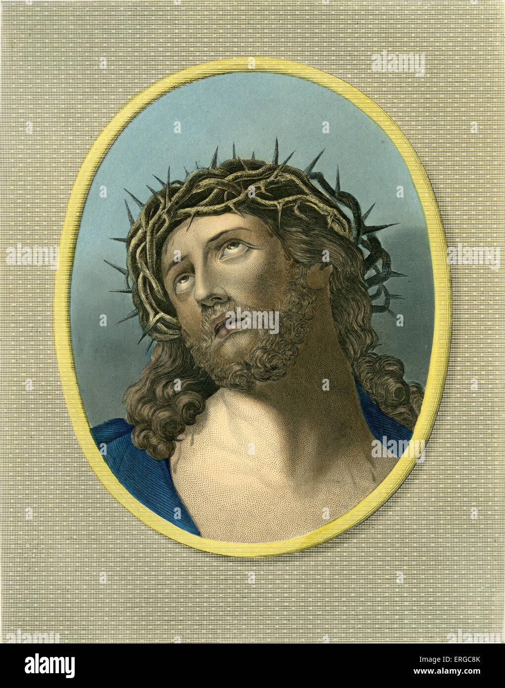 Jesus Christ crowned with thorns. Caption reads: ' Ecce Homo ' / Behold The Man. - Stock Image