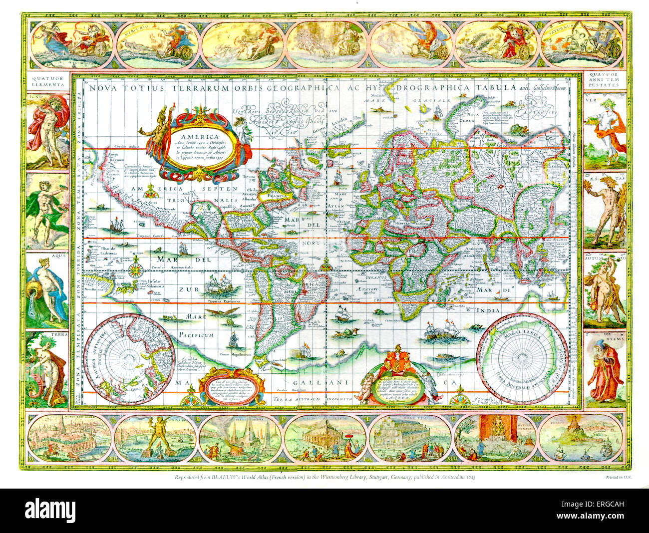 Blaeu World Map.World Map From Blaeu S World Atlas French Version Published