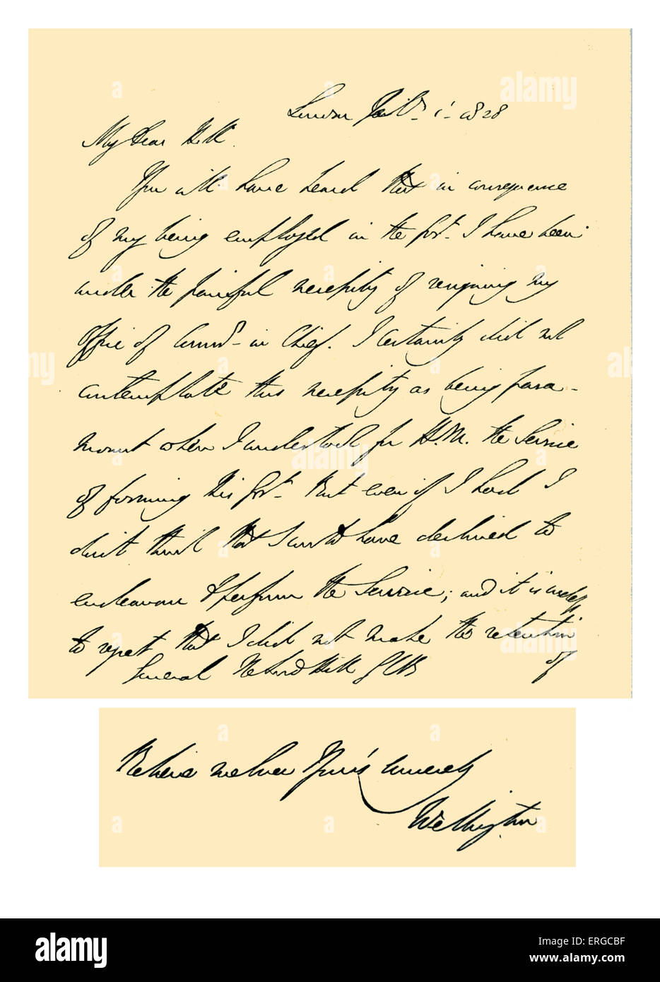 Autograph: Letter from Arthur Wellesley to General Rowland Hill, Lord Hill expressing regret at being compelled - Stock Image