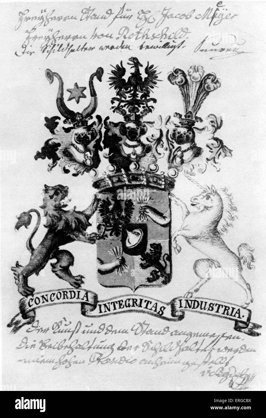 The Baronial Coat of Arms of the Rothschild Family, granted in 1822. - Stock Image