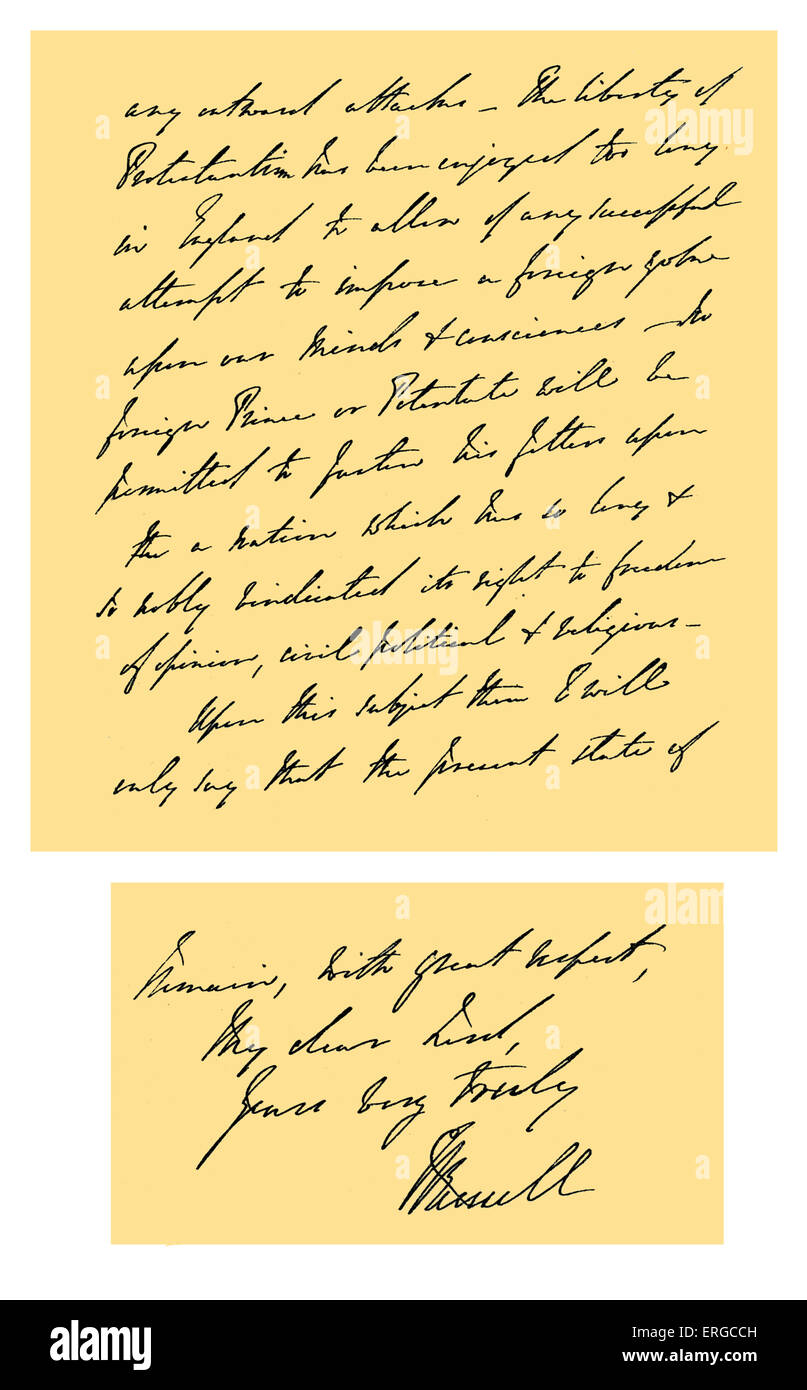 Autograph: Letter, commonly known as the 'Durham letter', written by Earl Russell as Lord Russell, First - Stock Image