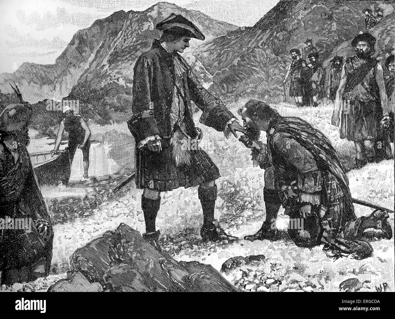 The Landing of Prince Charlie - in Eriskay, Scotland, 1745. Charles Edward  Stuart. Also known as 'Bonnie Prince Charlie' and
