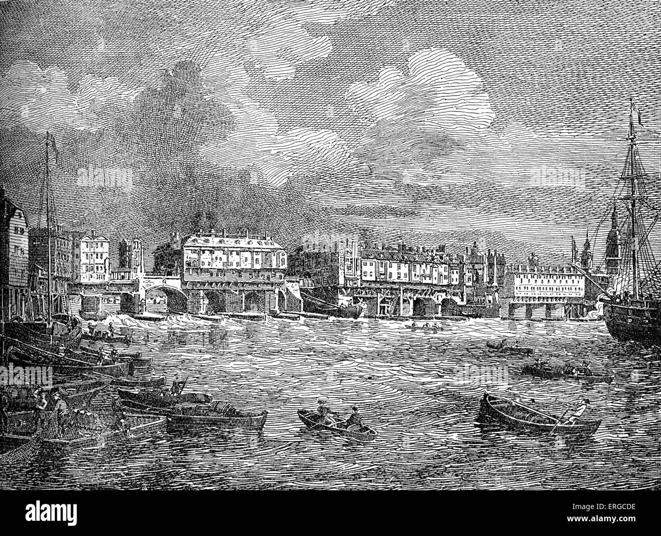 London Bridge, London, 1760 - view of the river Thames, riverside buildings and boats. - Stock Image