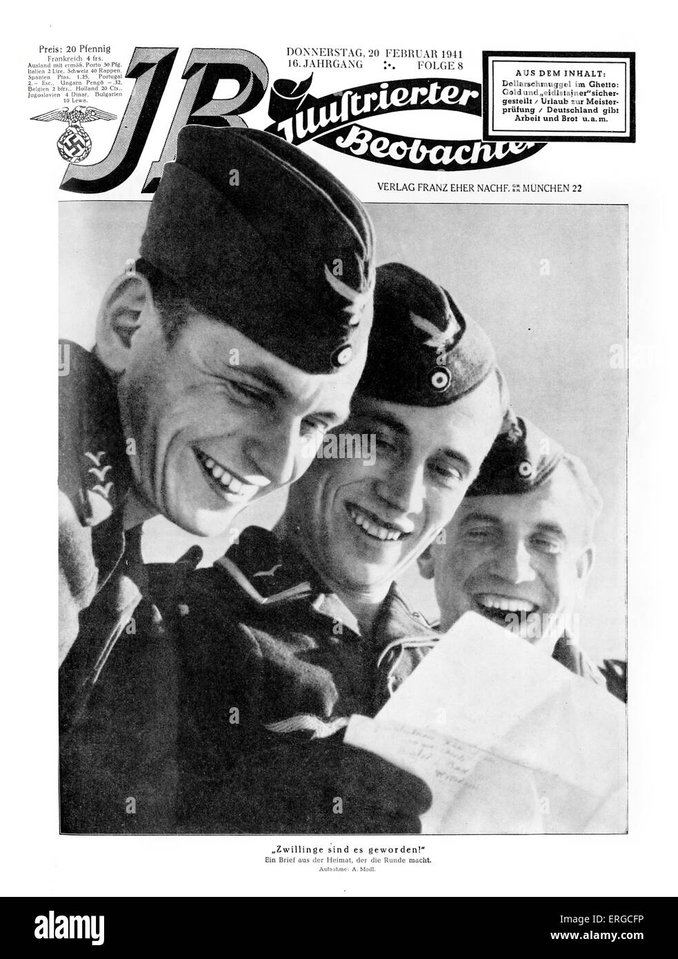 Cover of the 'Illustrierter Beobachter' (Illustrated Observer), Thursday 20 February 1941, Issue 8. Three men from Stock Photo
