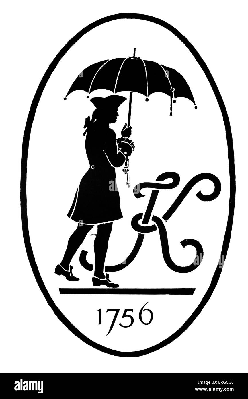 Trademark of Kendall & Sons of Leicester, umbrella makers. With silhouette of Jonas Hanway,  English traveller and Stock Photo