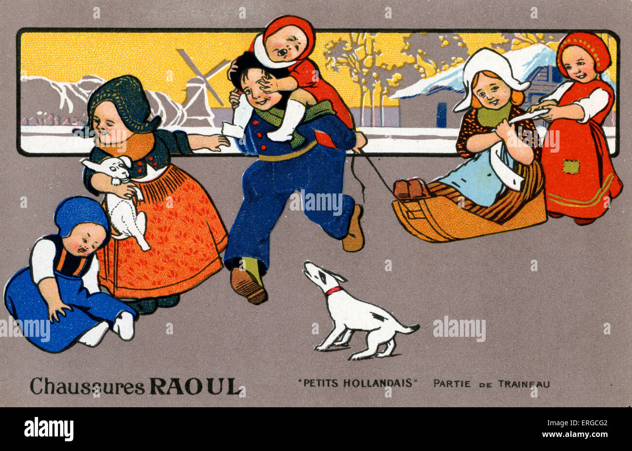 Chaussures Raoul - advert for shoes. Showing Dutch children in traditional dress. - Stock Image