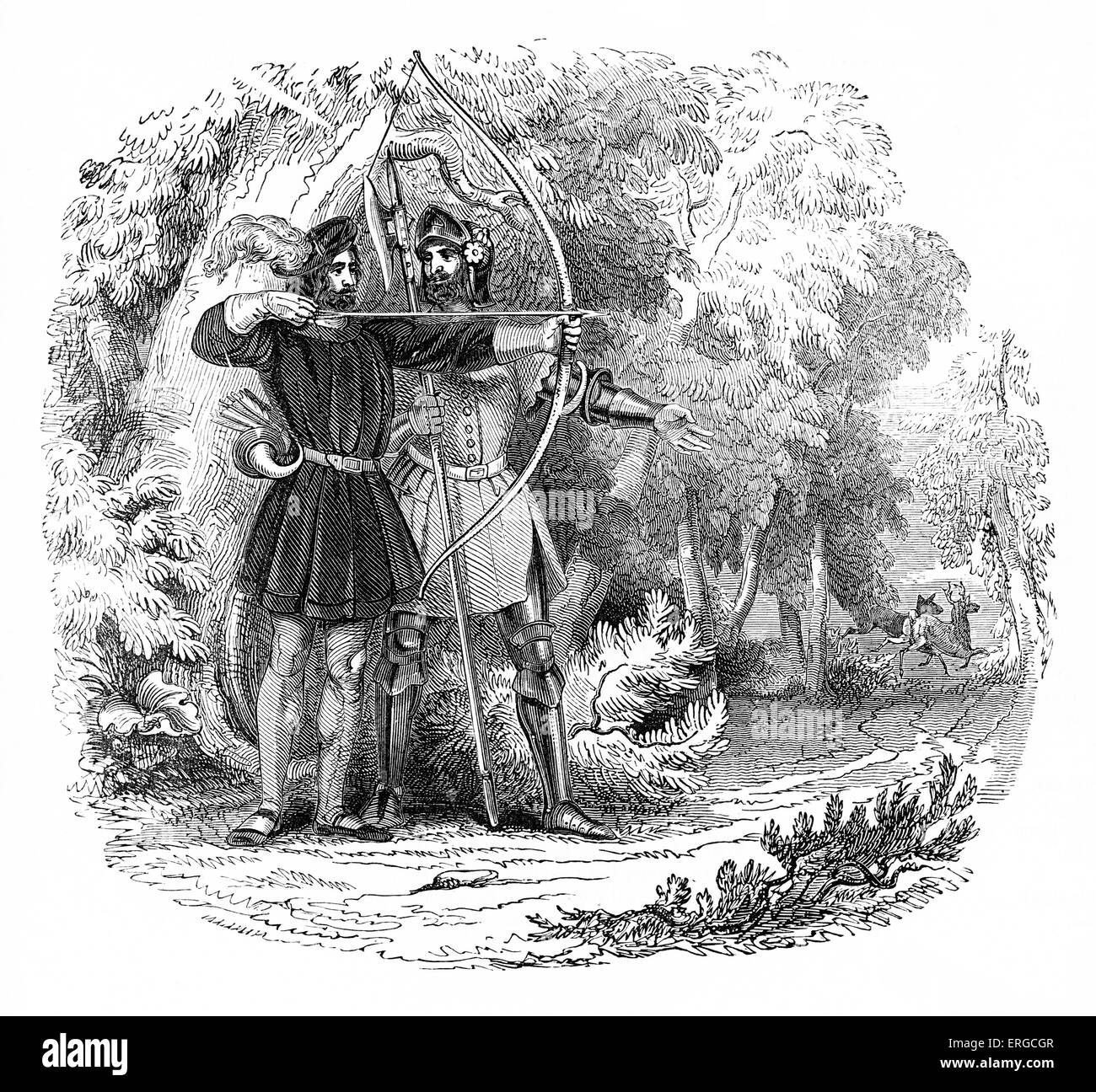 Robin Hood with Little John, using his bow and arrow in the Forest of Nottingham, England. - Stock Image