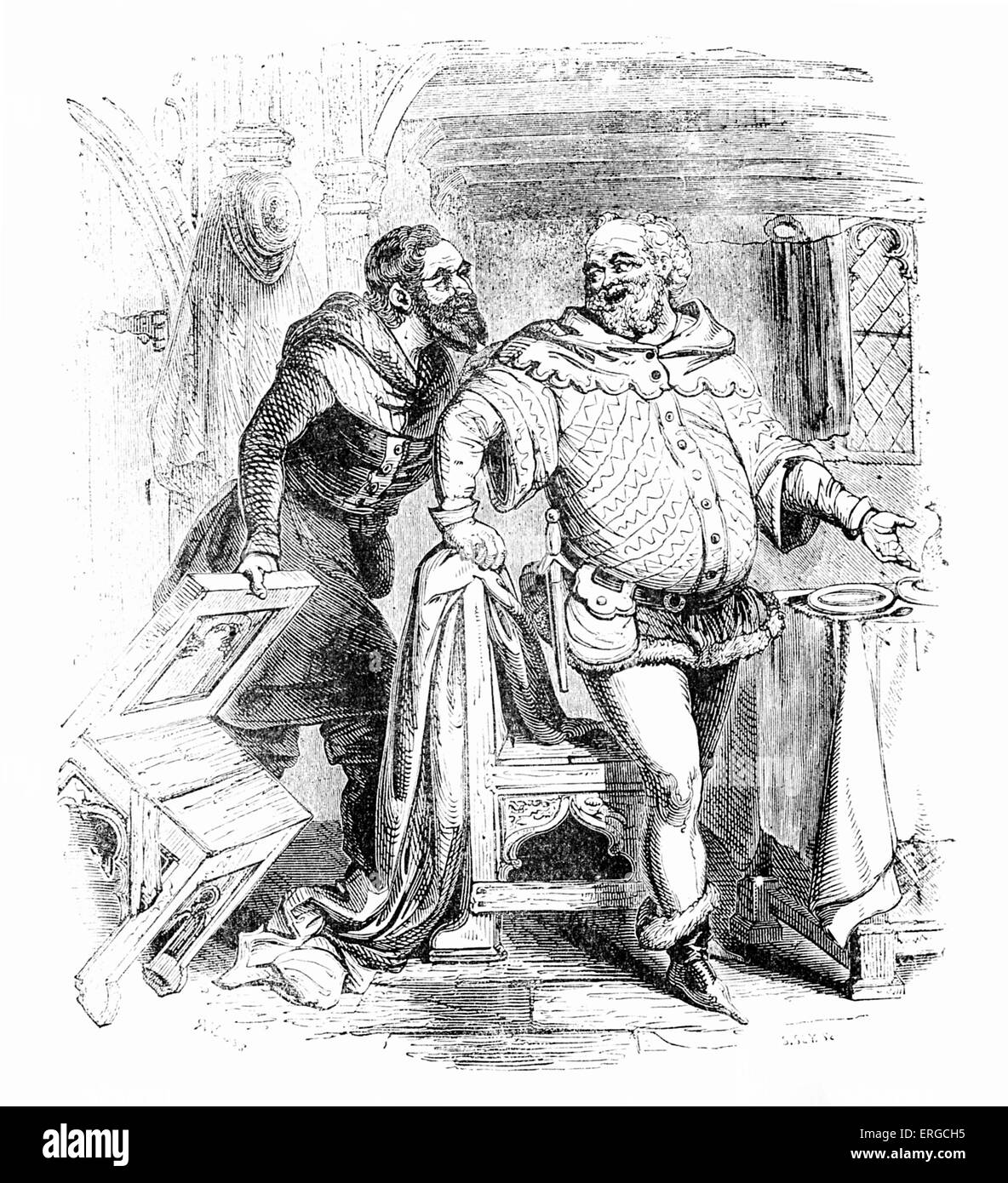 The Franklin and the Merchant (left). Engraving based on ' The Franklin's Tale ', from Geoffrey Chaucer's - Stock Image