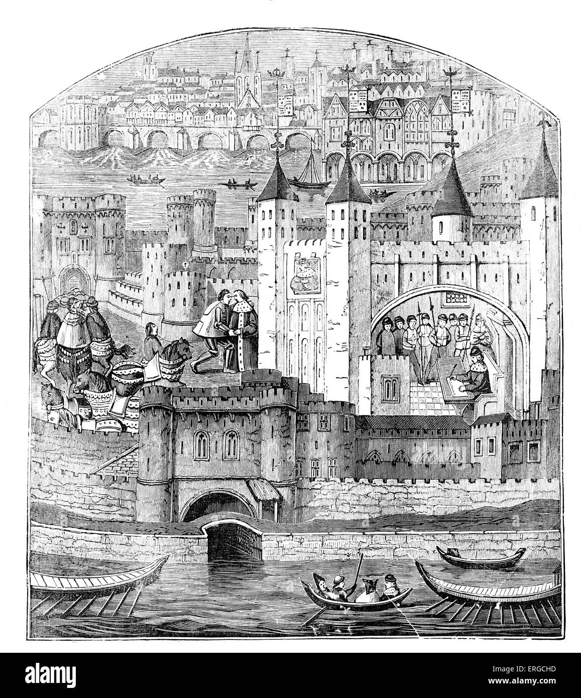 Tower of London in the 15th century. - Stock Image