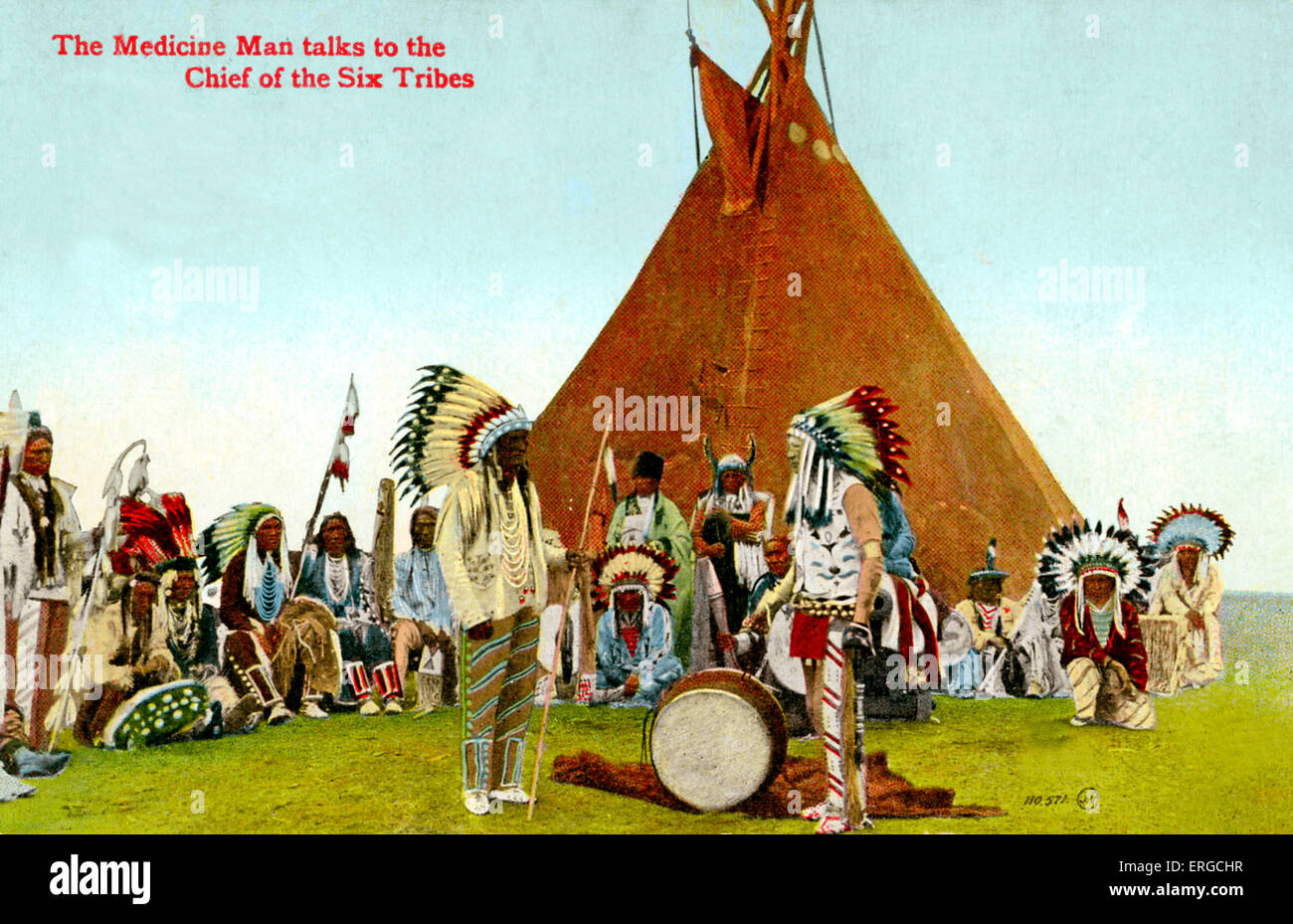 The Medicine Man talks to the Chief of the Six Tribes (also known as the Six Nations or Iroquois): the Mohawk, Oneida, - Stock Image