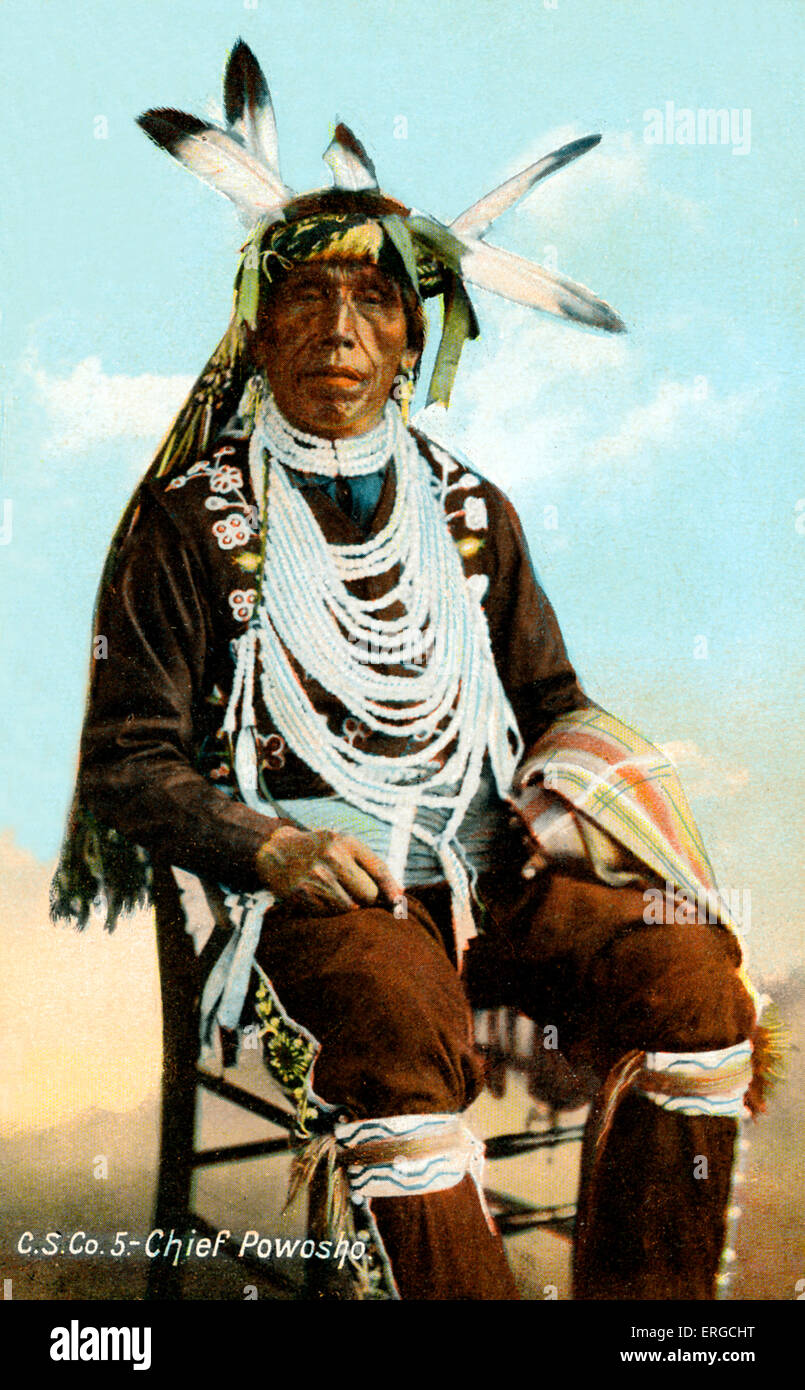 Chief Powosho of the Assiniboines. Published by C. S. Co. Ltd., Winnipeg. - Stock Image