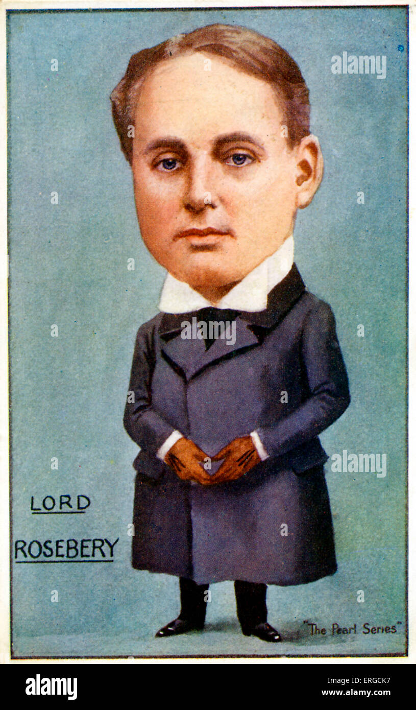 Lord Rosebery - caricature. Archibald Philip Primrose, 5th Earl of Rosebery, English Liberal Imperialist politician: - Stock Image