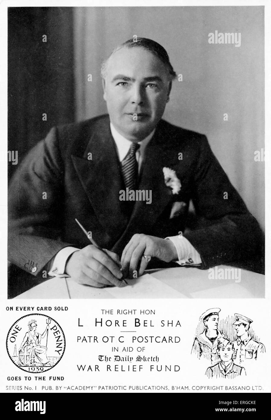 Hore Belisha - portrait for charity appeal. Isaac Leslie Hore-Belisha, 1st Baron Hore-Belisha, English Jewish politician. - Stock Image