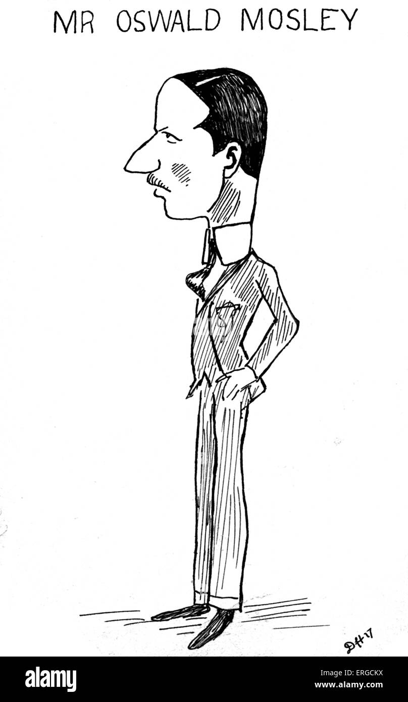Oswald Mosley - caricature. English politician and founder of the British Union of Fascists: 16 November 1896 – Stock Photo
