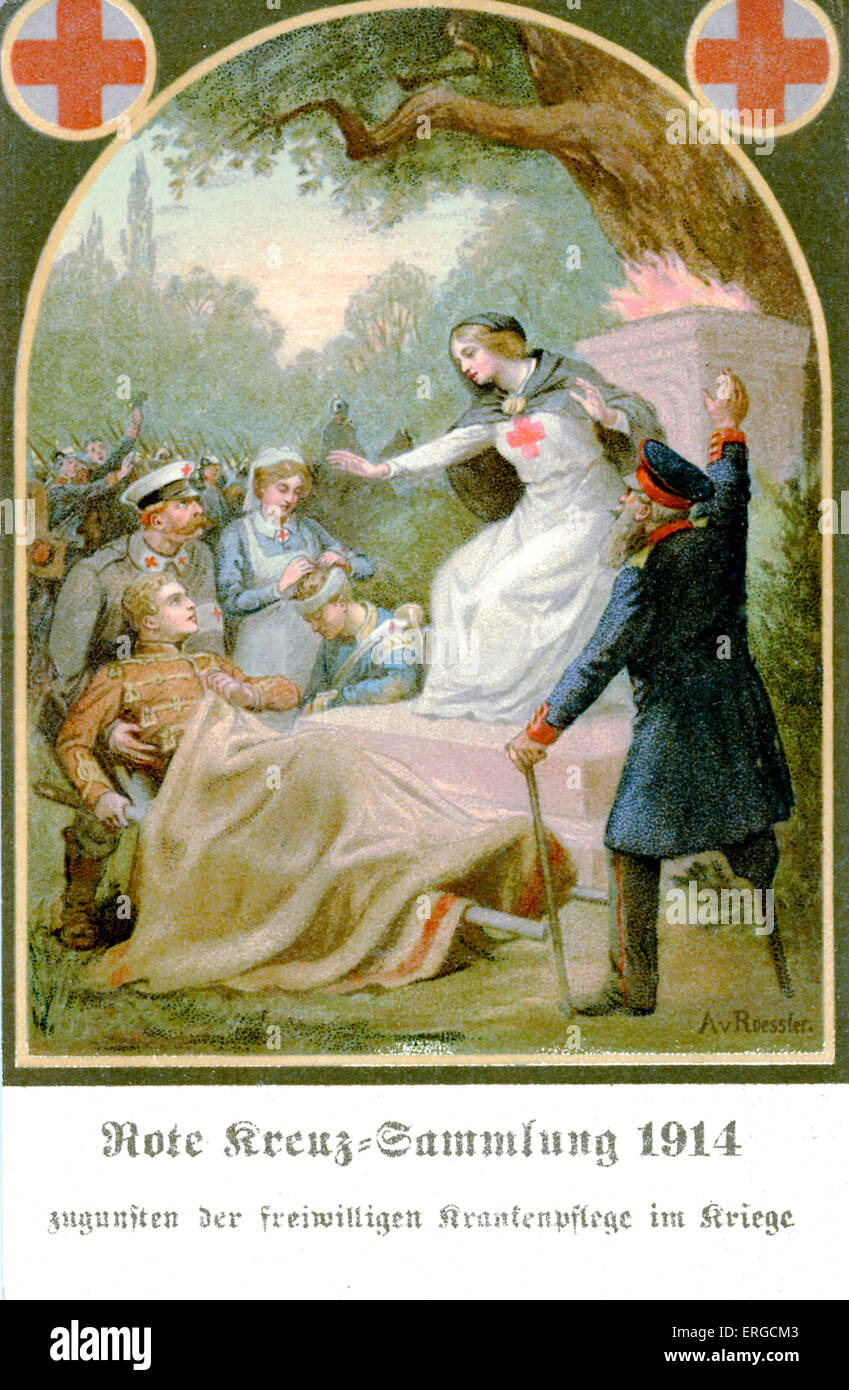 German Red Cross appeal - 1914. Depicts a Red Cross nurse surrounded by injured soldiers and veterans, tended to - Stock Image