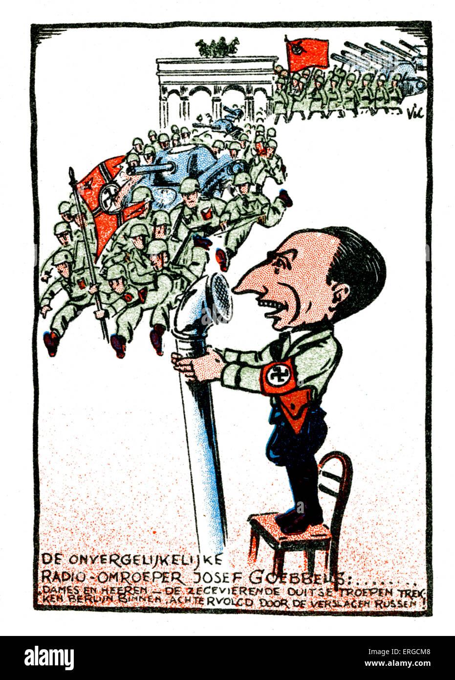 Göbbels -  Dutch caricature. Joseph Göbbels, German Nazi politician and Minister for Propaganda: 29 October 1897 Stock Photo