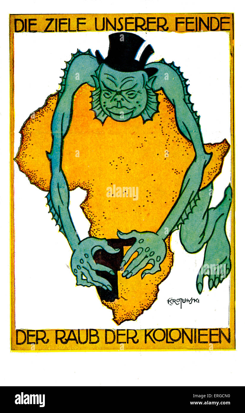 German fears of South West Africa takeover. Illustration by Krotowski shows a top hat-wearing sea creature making - Stock Image