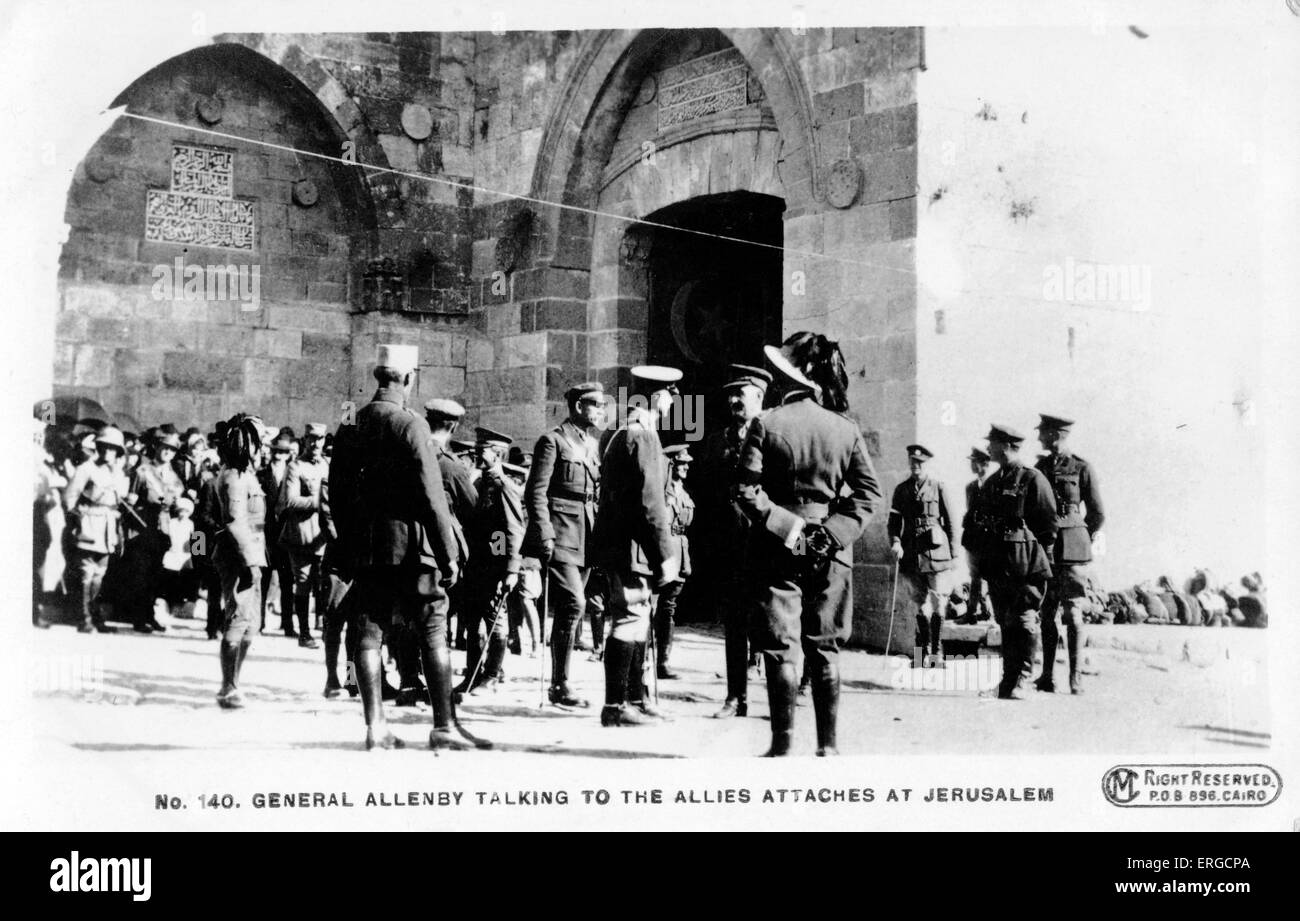 General Allenby talking to officers from allies at entrance to old city of Jerusalem. 1917 World War I - Stock Image