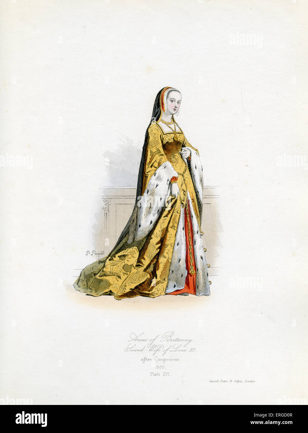 Anne of Brittany, 1500 - from engraving by Polidor Pauquet after Gaiguières. Breton ruler and married successively - Stock Image
