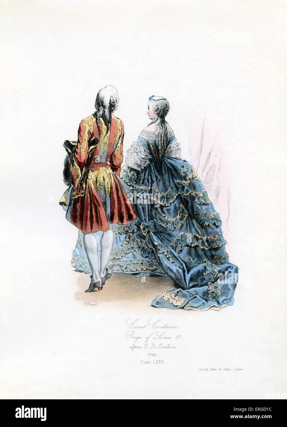 Court Costume in the reign of Louis XV, 1745 - from engraving by Polidor Pauquet after C. R. Cochin. LXV, King of - Stock Image