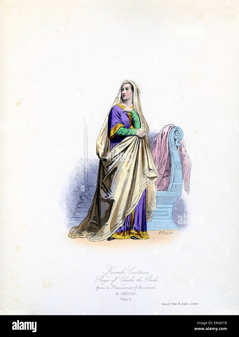 9th century female costume, from  reign of Charles the Bald. From engraving by Polidor Pauquet after original manuscript. - Stock Image