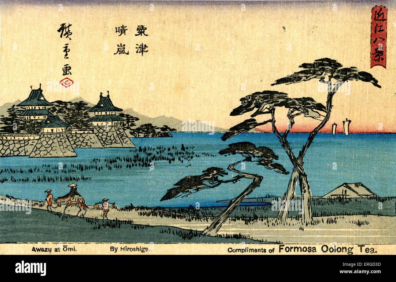 Taiwanese advertisement for Formosa Oolong Tea. Using the picture 'Awazu at Omi' by Hiroshige. Utagawa Hiroshige, - Stock Image