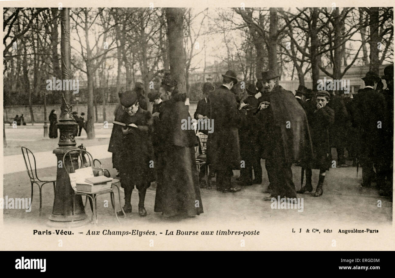 Postal stamp exchange, Champs - Elysées, Paris ('La  Bourse aux timbres-poste'). Early 20th century. - Stock Image