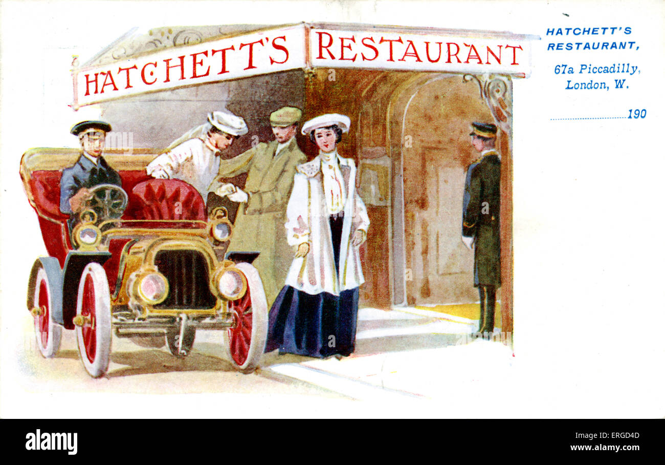 Advertisement for Hatchett's Restaurant, London. 67a Piccadilly. Shows two women and a man entering Hatchett's Restaurant. Stock Photo