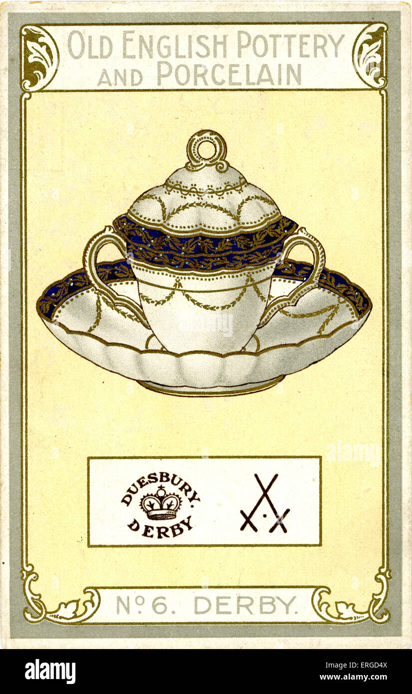 Promotional postcard: Derby porcelain. No. 6 in Chairman Cigarette Series 'Old English Pottery and Porcelain'. - Stock Image