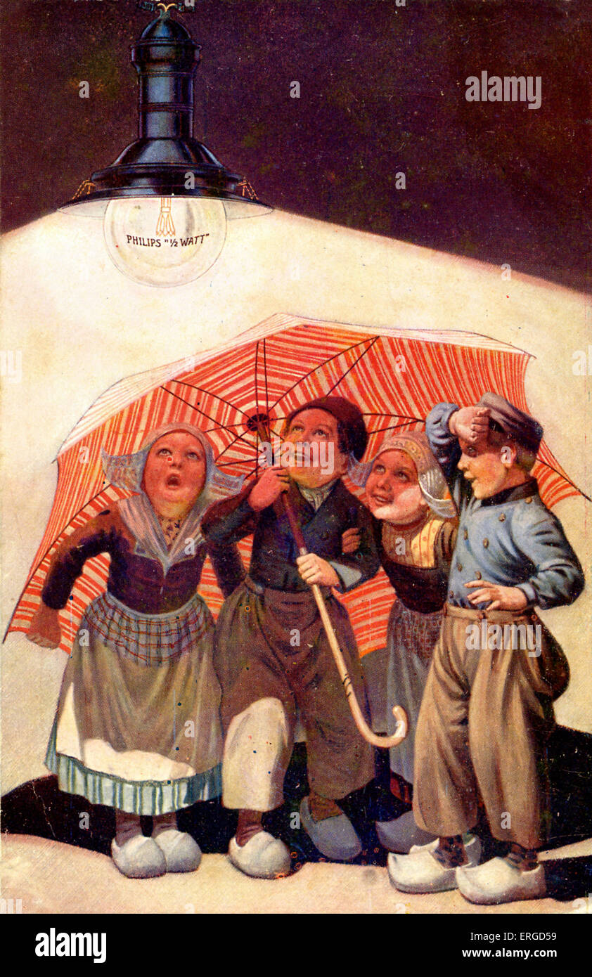Dutch advertisement for Philips 1/2 Watt lightbulb. Shows four children in traditional Dutch costume shading themselves - Stock Image