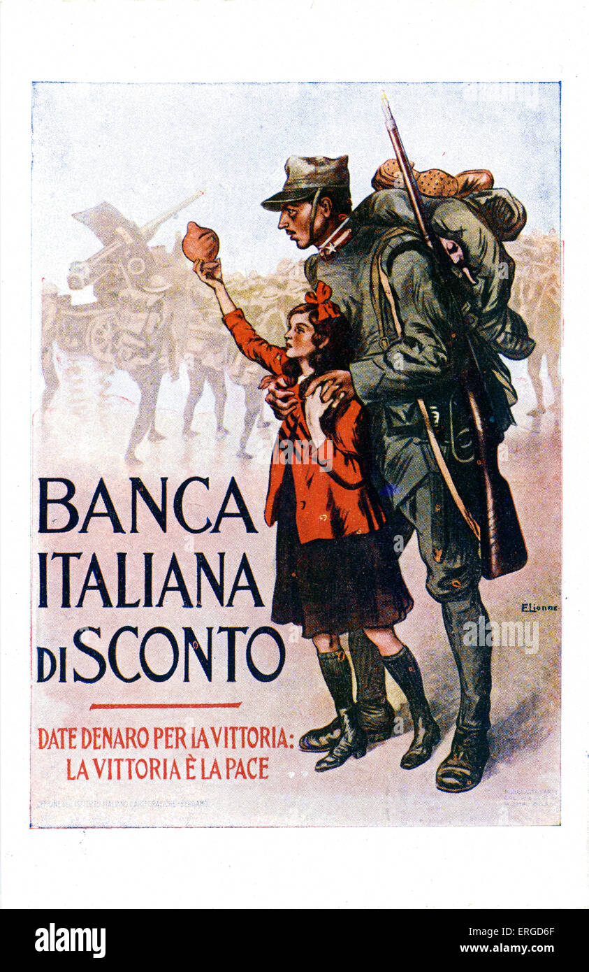 Italian first world war advertisement for war loans. Shows an Italian soldier and a young girl holding a piggy bank. - Stock Image