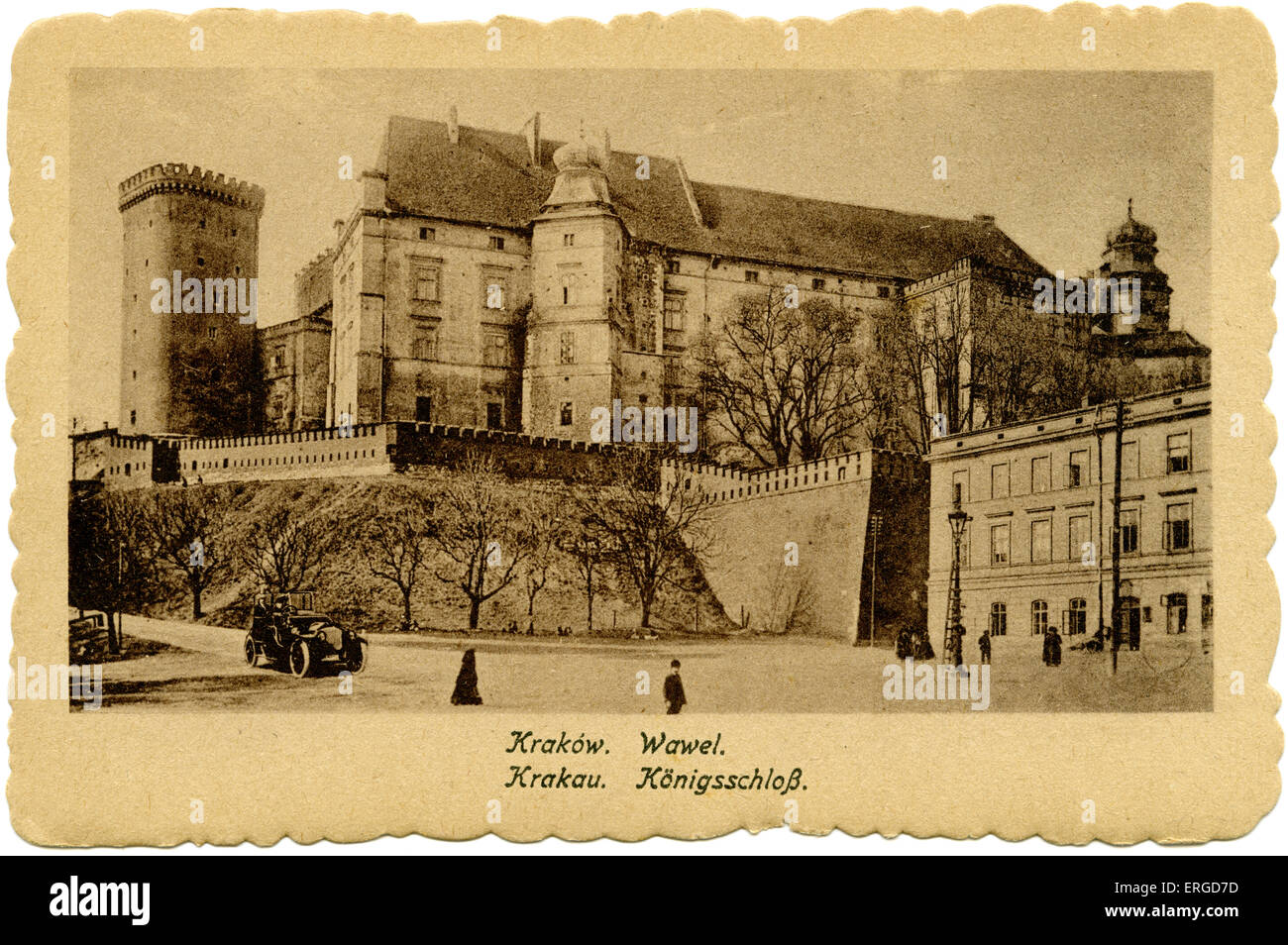 Wawel Castle, Krakow, 1918. Built at the request of Casimir III and subsequently rebuilt during 14th century. Post - Stock Image