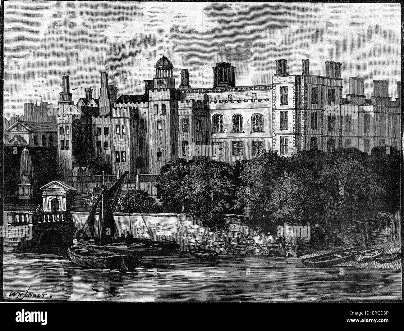 Old Somerset House, London, c.1540s. Built by Edward Seymour, 1st Duke of Somerset. A man of many enemies, prior - Stock Image