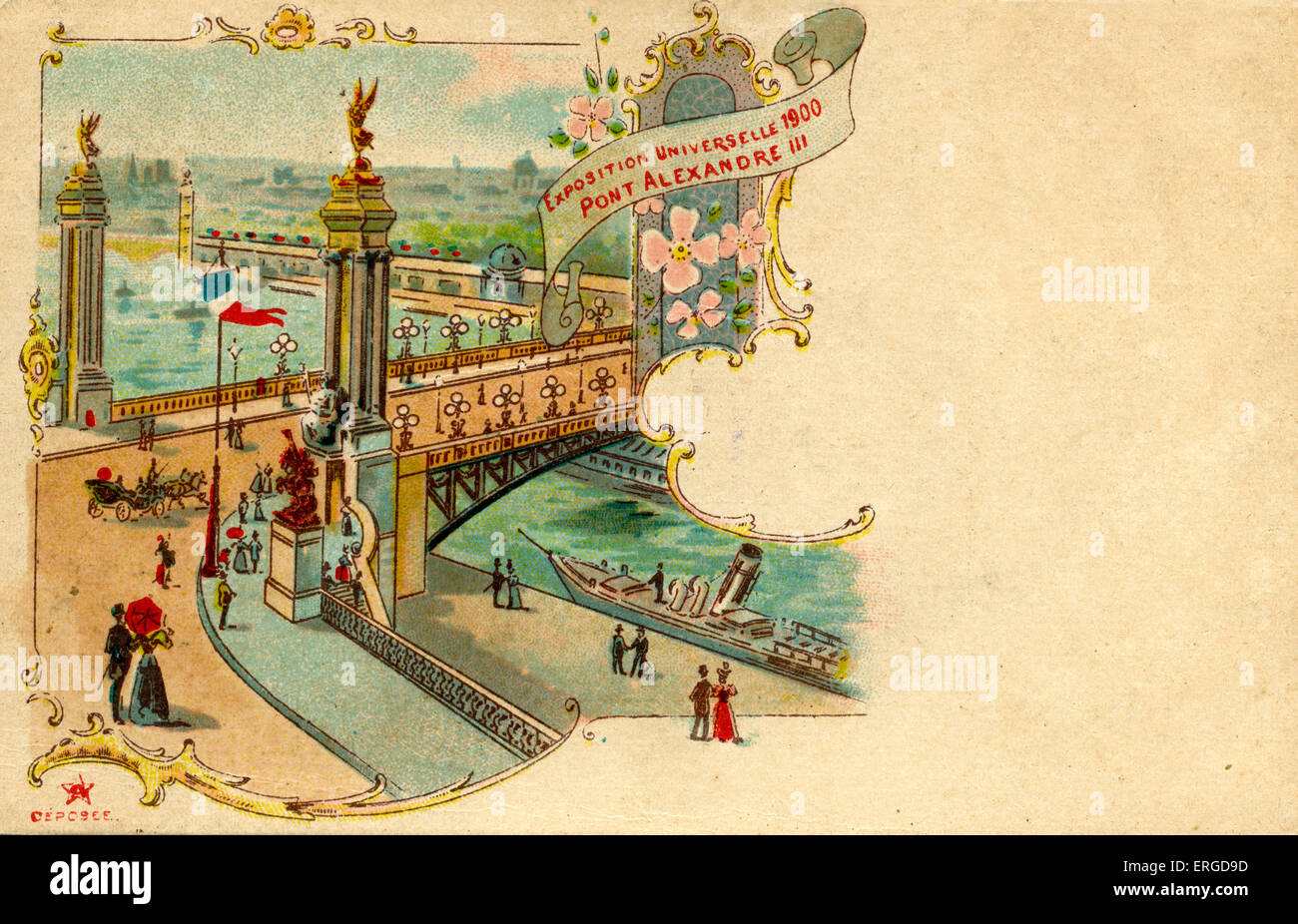 Paris Exposition Universelle, 1900. With view of Pont Alexandre III and river Seine. - Stock Image