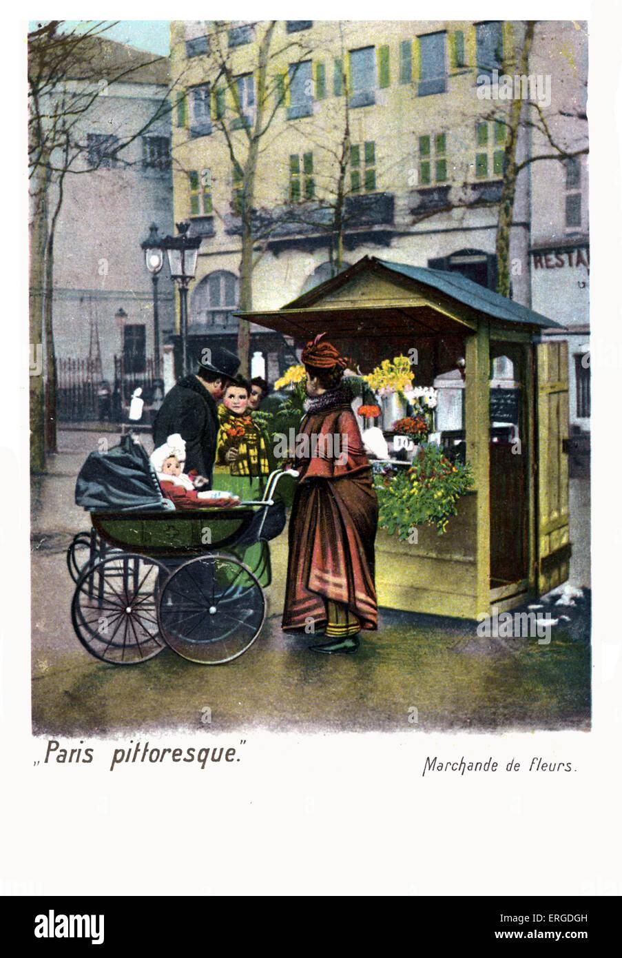 Woman Selling Flowers Marchande De Fleurs Paris C 1900 Stock