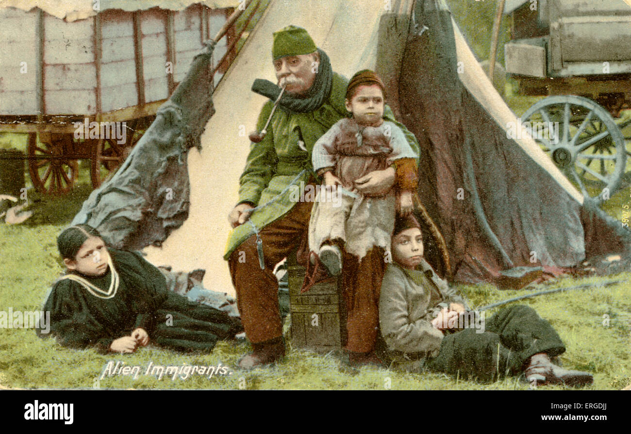 English gypsies. Family of gypsies outside a tent. Caption reads: 'Alien immigrants'. - Stock Image