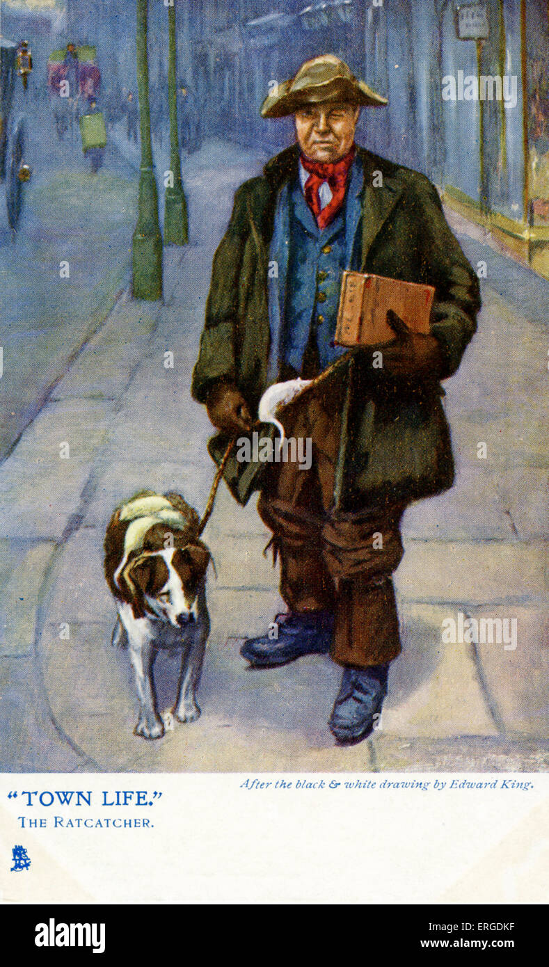 A ratcatcher, London. Shows a ratcatcher with his dog on a London street. After the black and white drawing by Edward - Stock Image
