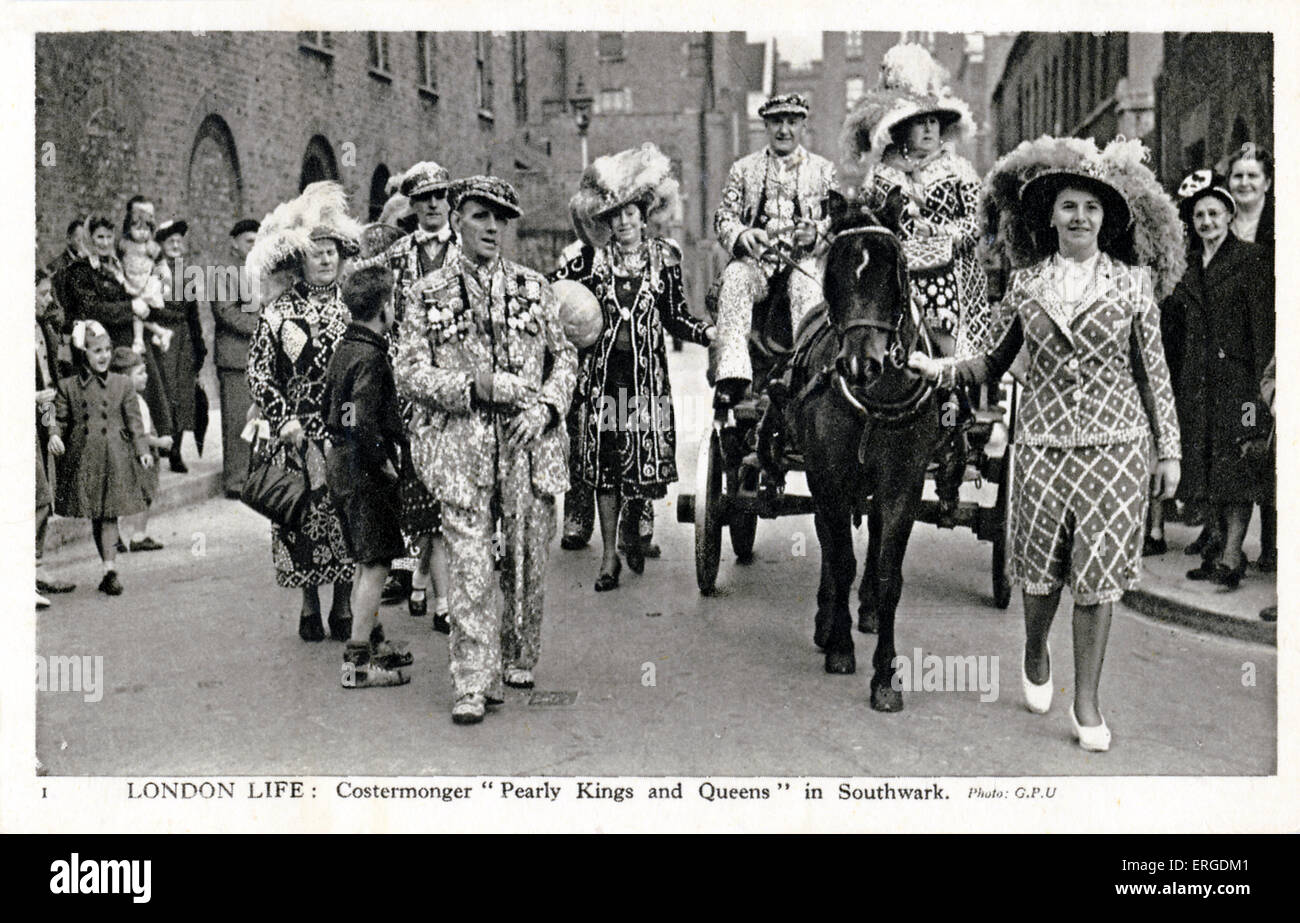 Pearly Kings and Queens in Southwark, London. The Pearly Kings and Queens is a working class organisation which - Stock Image