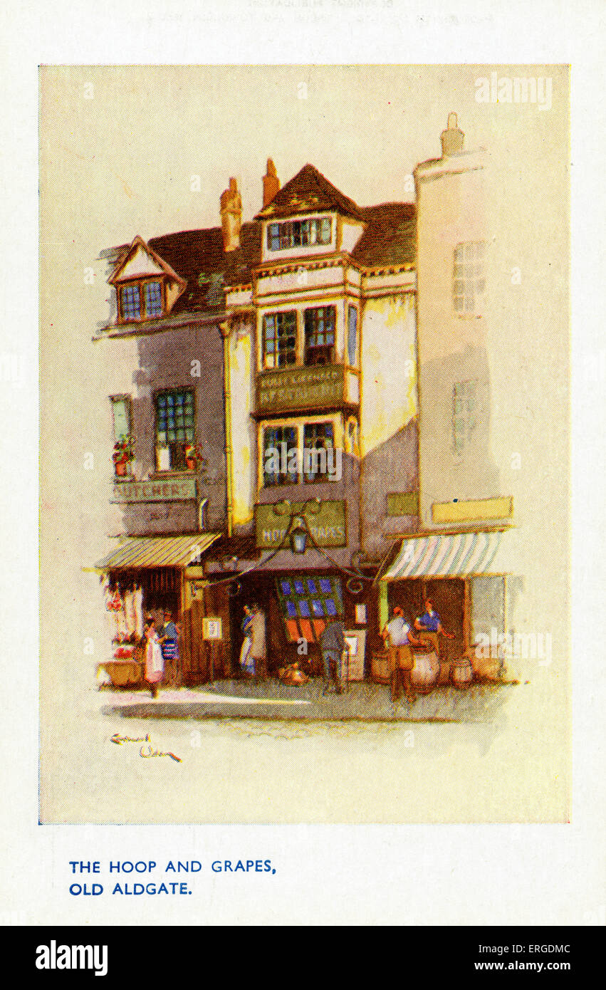The Hoop and Grapes, Old Aldgate, London. Timber-framed public house which survived the Great Fire of London in - Stock Image