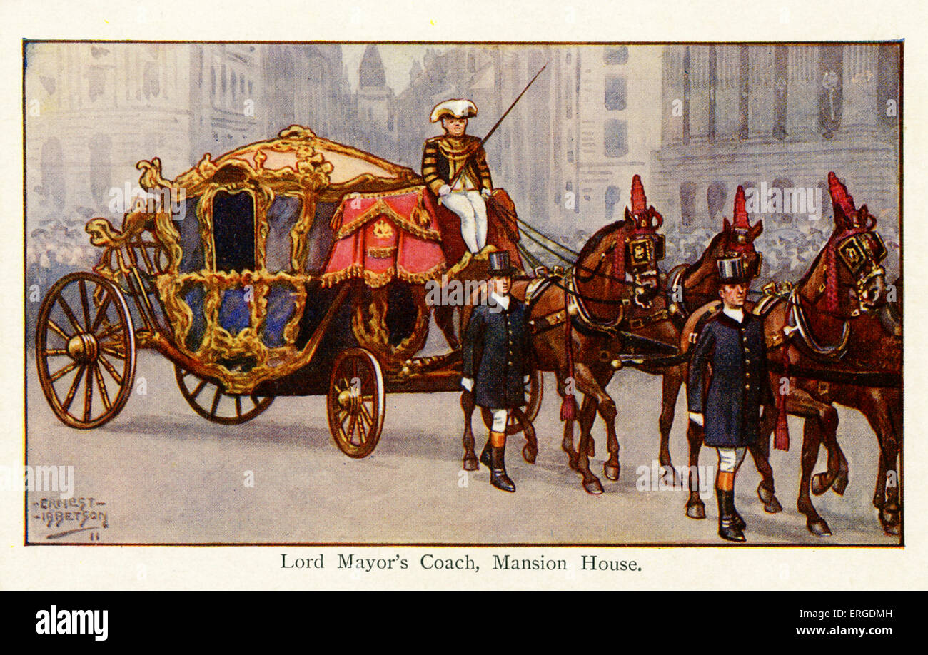Lord Mayor 's Coach, Mansion House, 1911. Illustration by Ernest Ibbetson, British artist: 1877-1959. - Stock Image