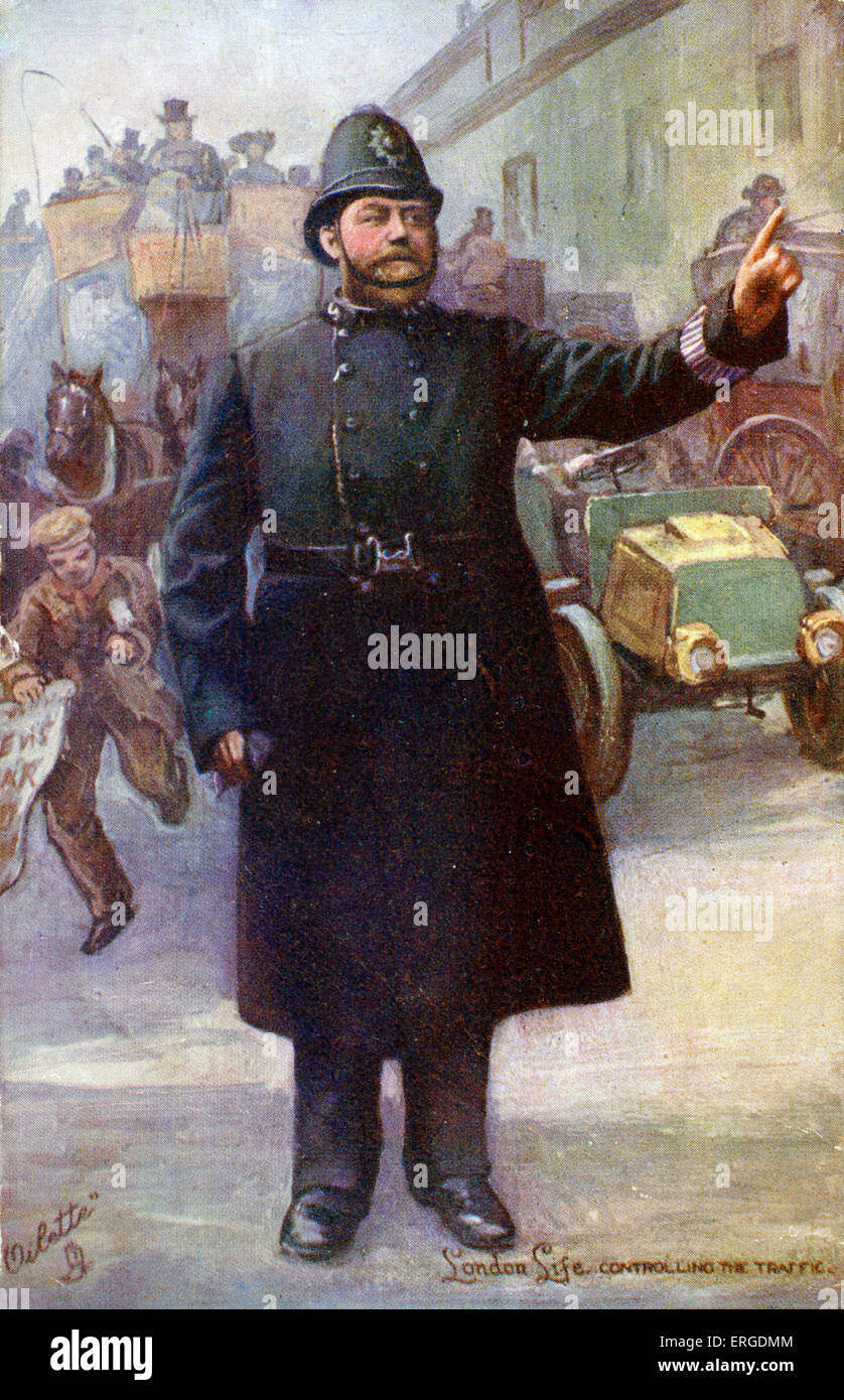 A London policeman directing traffic. In the background is a newsboy / newspaper seller. Caption on back reads: - Stock Image