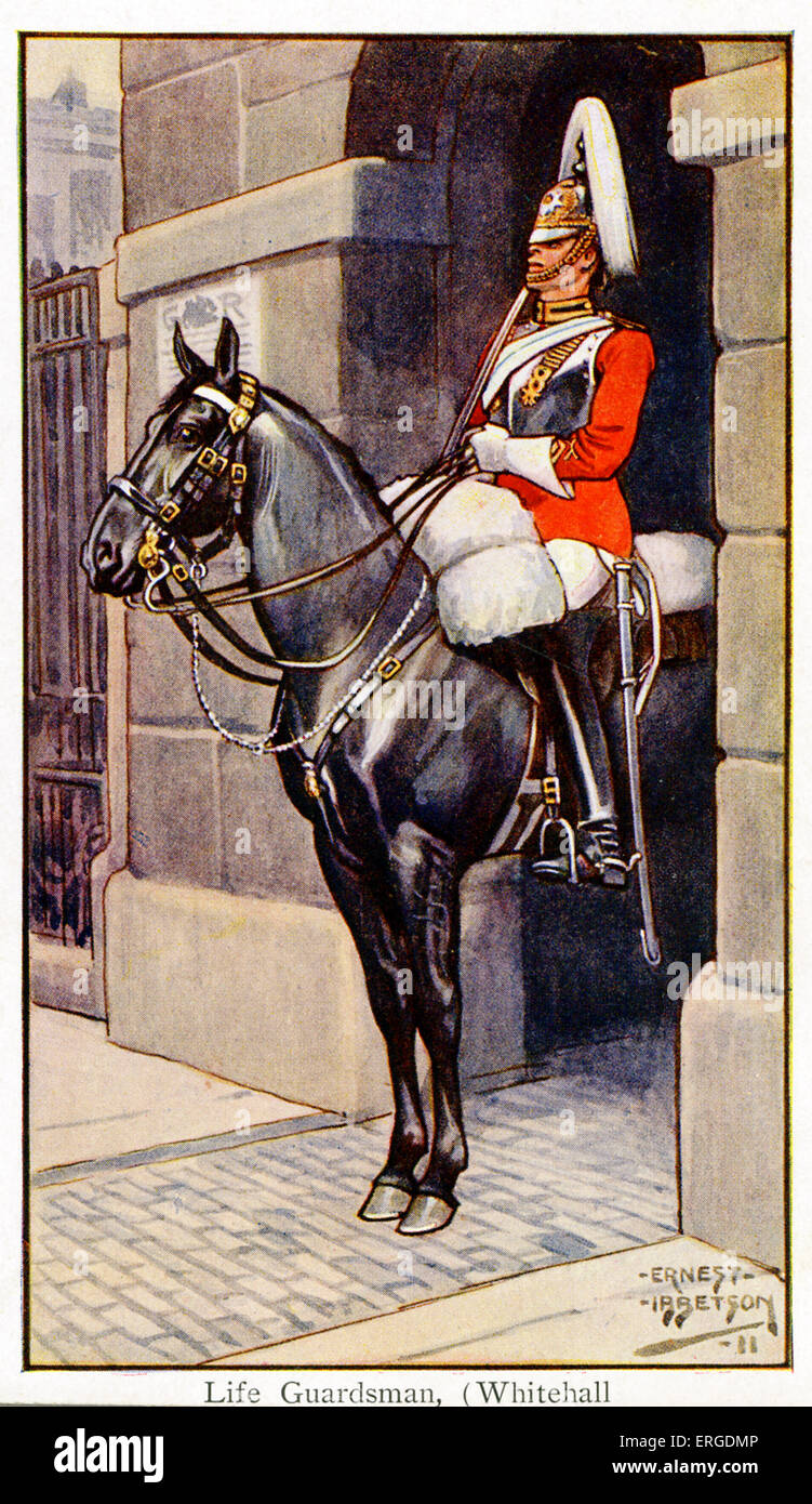 Life Guardsman at Whitehall, London, 1911. The Life Guards make up the Household Cavalry, along with the Blue and - Stock Image