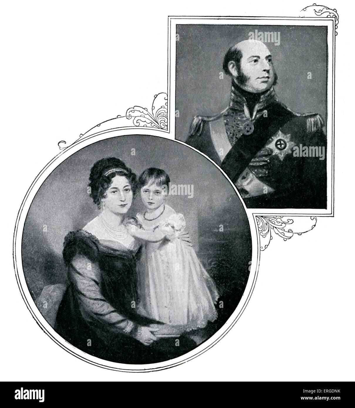 Queen Victoria at three yeard old with her mother Victoria Maria Louisa, Princess Regent of Leinigen, wife of Prince - Stock Image