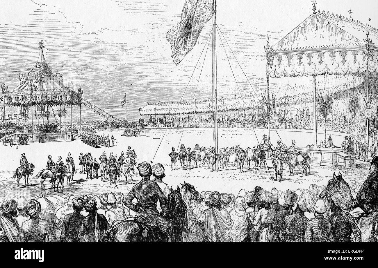 Proclamation of Queen Victoria as Empress of India - at the Imperial Durbar at Delhi, 1 January 1877. From illustration - Stock Image